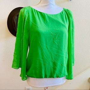 ALICE OLIVIA green silk sheer sleeve blouse top S